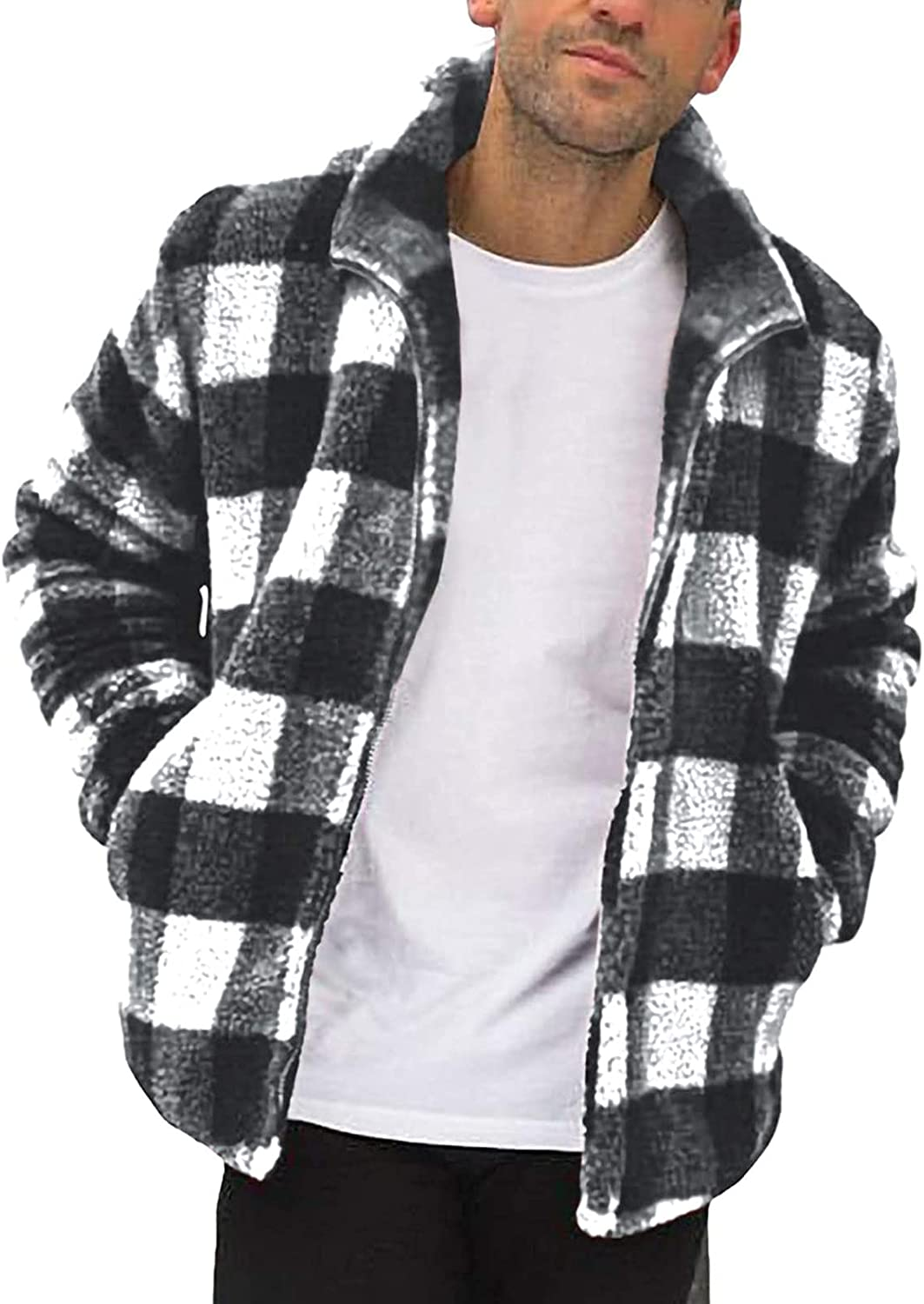 Fluffy Fuzzy Sherpa Jacket for Men Casual Autumn and Winter Fleece Stand Collar Zip up Outwear Cardigan Coat