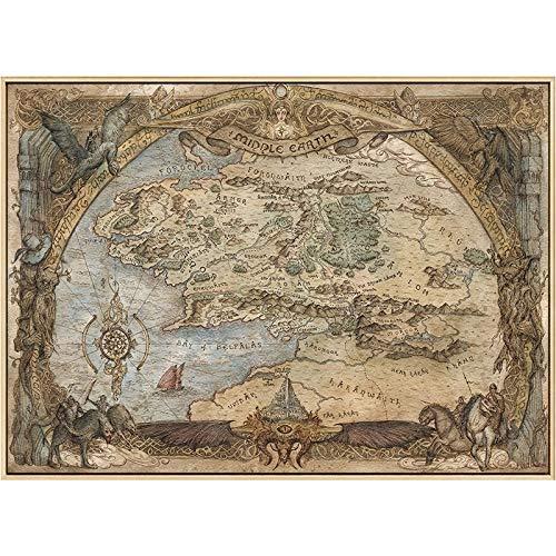 Toile de peinture Carte de la terre du milieu affiches de film et impressions seigneur des anneaux classique Film Art photos sur toile à l'huile peinture murale pour salon 50x75cm