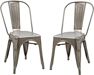 Abbie Home Tolix Style Gun Metal Chair - Outdoor Indoor Stackable Antique Dining Bistro Cafe Side Chairs, Set of 2 (Clear)