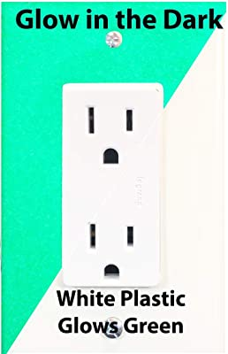 Glow In The Dark Safety 1 Gang Wall Cover Plate White Plastic Standard Size For Single Rocker Switch Decora Gfci Device 1 Pack