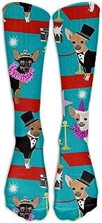 Chihuahua Fashion Show Dog Calcetines de fútbol para jóvenes Fasoar Adolescentes Calcetines hasta la rodilla de fútbol Calcetines largos de rayas de rugby