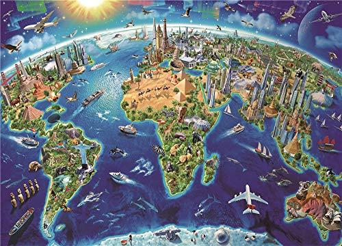 Safiman Rompecabezas Adultos 300, Mapa del Mundo, Decoración para El Juego De Juguetes para El Hogar, 38X26Cm