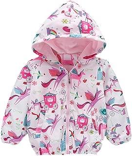 Girls Cartoon Unicorn Jackets Zip Kids Hooded Flamingo Windbreaker Coat for Toddler Pink Light Outwear