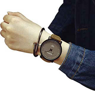 Couples Watch,Luxury Steel Case Wristwatch Leather Student Bracelet Clock Axchongery