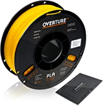 Overture PLA 3D Printer Filament 1-Pack Yellow 1.75 1kg x 1