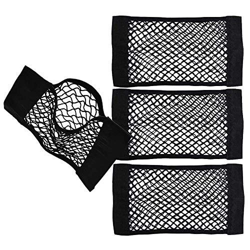BluVast Netztasche Kofferraum, 4 Stück Universal KFZ Netztasche mit Klettverschluss Autositz Kofferraumnetz Kofferraum Netz Organizer Gepäcknetz aus Nylon (35x25cm)