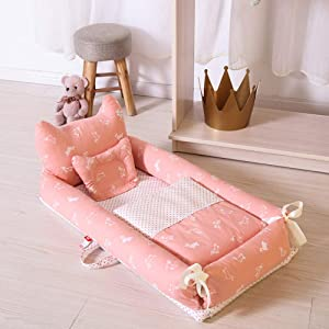 Baby Lounger for Bed  Portable Bear Modeling Crib Mattress And Quilt  for Bedroom Travel Camping D
