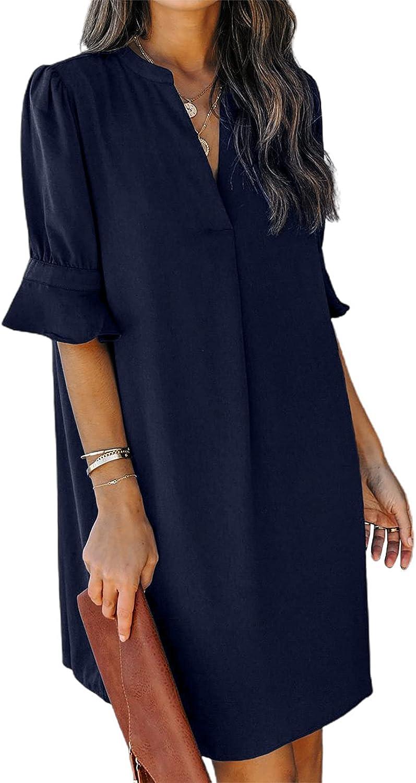 Astylish Women's V Neck Short Sleeve Tunic Dress Loose Summer Casual Dresses