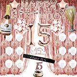 Rose Gold 15th Birthday Decorations for Girls, Quinceanera Decorations, Sweet 15 Birthday Party Supplies for Her include Foil Fringe Curtains,Happy Birthday Balloons,Birthday Tiara & sash, Cake Topper