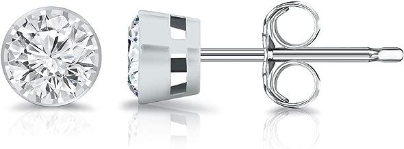 14K Gold Round Lab Grown Diamond Stud Earrings (0.15-0.25cttw, G-H, SI2-I1) Bezel-set, Push-backs by Diamond Wish