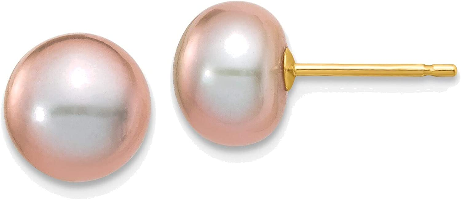7-8mm Purple Button Freshwater Cultured Pearl Stud Post Earrings in 14K Yellow Gold