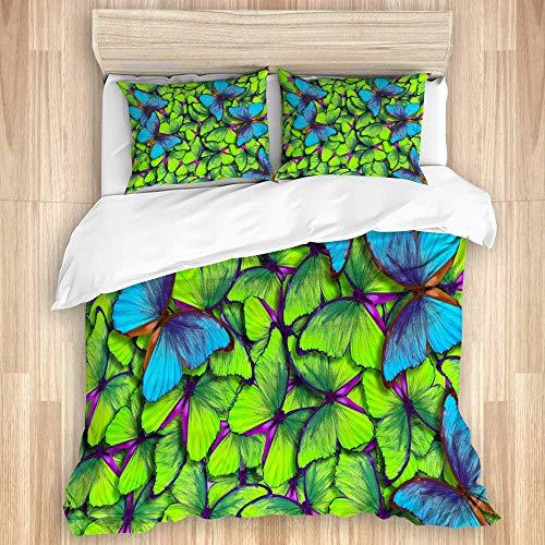 Juego de funda nórdica de 3 piezas, alas de una mariposa Morpho vuelo de mariposas azules y amarillas brillantes con fondo abstracto, juegos de fundas de edredón para dormitorio, colcha con cremallera