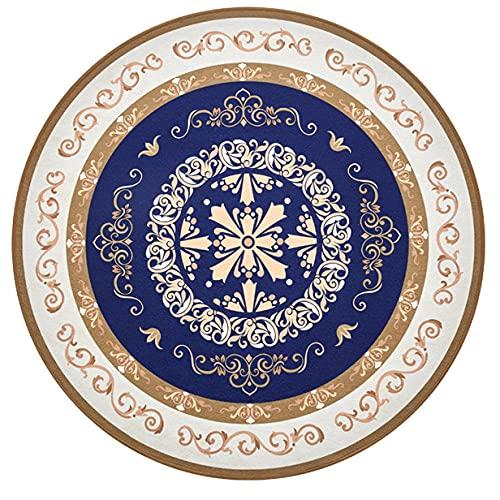 Patrón Geométrico Azul Alfombra Silla Suelo para Suelos Duros,Redondo Alfombra Protege Suelopara Suelos Duros,Φ120cm Alfombra Protectora Silla De Oficinapara Suelos Duros,Protección Antideslizant