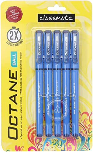Classmate Octane- Blue Ball Pens (Pack of 5)   Smooth & Fast Writing Ball Pens   Comfortable to hold & write School &...