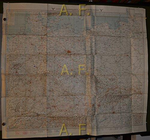 Luft-Navigationskarte in Merkatorprojektion. Deutschland, Tschecho-Slowakei, Ungarn, Schweiz, 1 : 1.000.000 (ca. 129 x 116 cm)