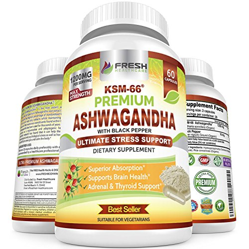 Ashwagandha KSM-66 by Fresh Healthcare, 1200mg Pure and Potent Root Extract Capsules with Natural Black Pepper for High Absorption, Non-GMO Vegan Supplement Pills, Bonus E-Book with Purchase