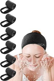 Spa Headband Hair Wrap EURICA Sweat Headband Head Wrap Hair Towel Wrap Non-slip Stretchable Washable Makeup Headband for Face Wash Facial Treatment Sport Fits AllBlack Pack of 6