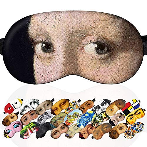 Soft Night Sleep Mask Sleep Mask Girl with a Pearl Earring for Women Girls - 100% Soft Cotton - Comfortable Eye Sleeping Mask Night Cover Blindfold for Travel Airplane