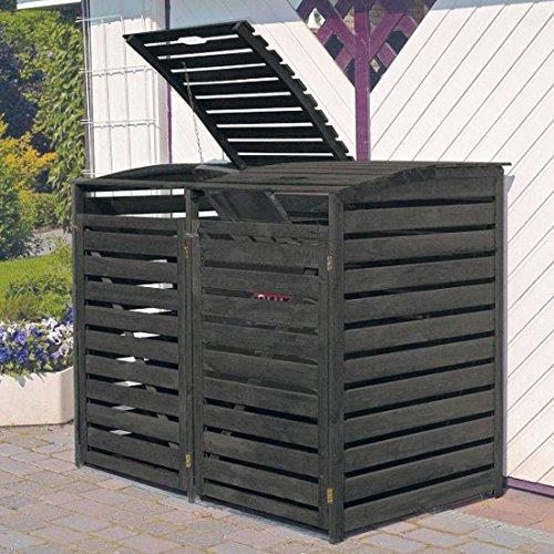 Promadino Mülltonnenbox für 2 Tonnen anthrazit, H 122 x B 148 - (325/53)