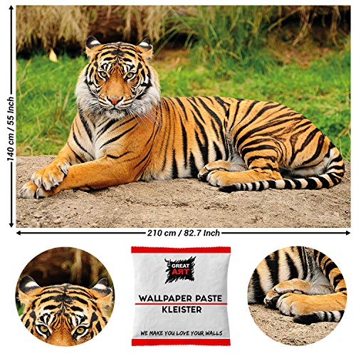 Great Art Decoratie Tijger fotobehang - Majestic Tiger muurschildering wild dier poster Fierce Cat Decor Jungle Hunter 210 x 140 cm - 5 Teile + Kleister tiger