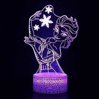 Festival Lámpara de Ilusión 3D Luz de Noche Led Disney Frozen Princesa Anna Elsa Olfa Figura Niñas para Decoración de Dormitorio Lámpara de Mesa Regalos de Cumpleaños