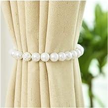 Clip Rings Creative Curtain Kleurrijke Pearl Buckle Thuis Curtain Strap Magnet Buckle Gebonden Gordijn Touw riem met touw ...