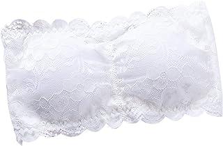 OULII Mujeres Strapless Lace Bandeau Sujetador Acolchado extraíble Stretch Stretch Bandeau Tube Bra Top (Blanco)
