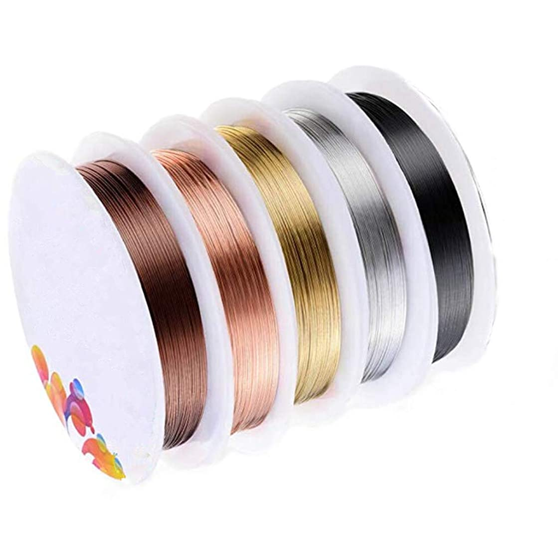 Kasmena 5 Rolls Jewelry Beading Wire,for Jewelry Making Supplies and Jewelry Repair,5 Assorted Colors