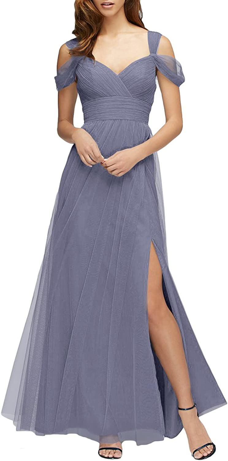 Udresses Long Sexy OffTheShoulder Tulle Bridesmaid Dresses with Slit M086