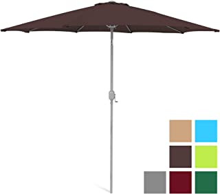 Best Choice Products SKY3434 Umbrella 9ft Outdoor Water/UV-Resistant Market Patio Umbre, Brown