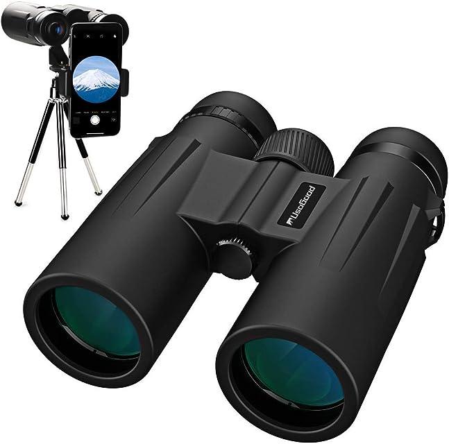 Usogood Prismáticos 12x50 Binoculares Plegable con Tripode y Adaptador movil para Adultos Niños Observación de Aves Caza Senderismo Astronomía y Camping