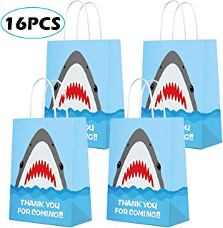 Shark Party Supplies, Shark Party Bags - Shark gift bag Shark Party Favor Bags- Party Favor Goody Treat Candy Bags for Kids Adults Shark Theme Party decorations- 16 PCS
