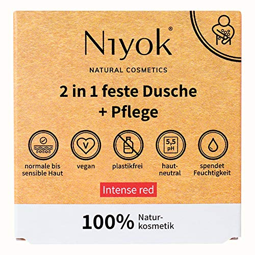 Niyok® 2 in 1 feste Dusche und Pflege   festes Duschgel ohne Palmöl   hautneutral pH 5,5 vegan plastikfrei   wie Duschseife Bio Seife Naturkosmetik   spendet Feuchtigkeit   Intense red (80g)