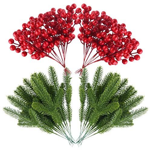 TUPARKA 38 PZ Piante Artificiali Foglie di Pino Aghi e Bacche Rosse Artificiali Steli di Bacche per Ghirlanda di Natale Decorazione Ghirlanda, Ornamenti Natalizi Artigianato Fai da Te