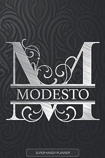 Modesto: Monogram Silver Letter M The Modesto Name - Modesto Name Custom Gift Planner Calendar Notebook Journal