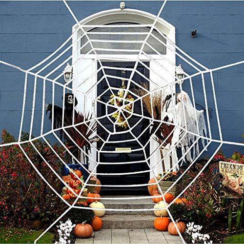 Fodlon Telaraña de Halloween, Gigante Tela de Araña Estirable Arañas Web Algodón para Casa Interior y Exterior Decoración de Halloween Fiesta,12 pies (Blanco)