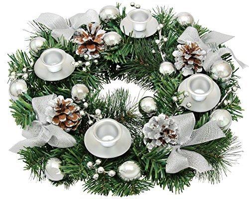 Silver Ribbon Christmas Advent Wreath - Advent Wreaths Season Centerpiece Décor - Advent Candle Holder and X-mas Candles Decorations - Advent Calendar Season Decoration