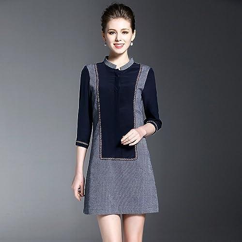 ZHUDJ Le Printemps Et L'été en Coton Slim Couture Robe_