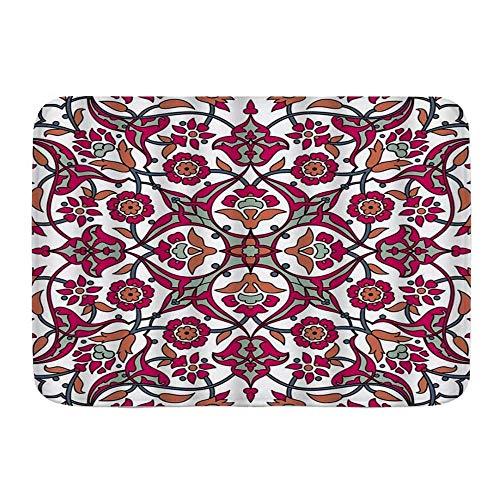 Autisum Bathroom Kitchen Carpets,Absorbent Doormats,Non-Slip Bath Mat,Floor Rug,Area Rugs Retro Flower Print Decorative Vintage Oriental Tribal Floral Ornament Paisley