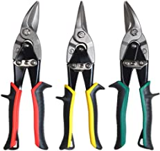 BONSWAGOO 3 Pieces Aviation Tin Snips Set Cutting Shears Left, Straight, Right Cut Snippers