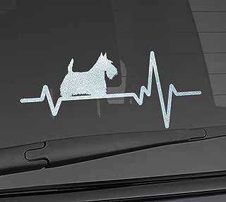 Heart Beat Line Heartbeat DOG SCOTTISH TERRIER Aberdeen Scottie Love For Food Bowl Car Vinyl Sticker Wall Decal 3.75