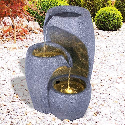 Gartenbrunnen Brunnen Zierbrunnen Zimmerbrunnen Springbrunnen Brunnen mit LED-Licht 230V Wasserfall Wasserspiel für Garten, Gartenteich, Terrasse, Balkon Sehr Dekorativ (Wasser-SÄULE mit LED-Licht)