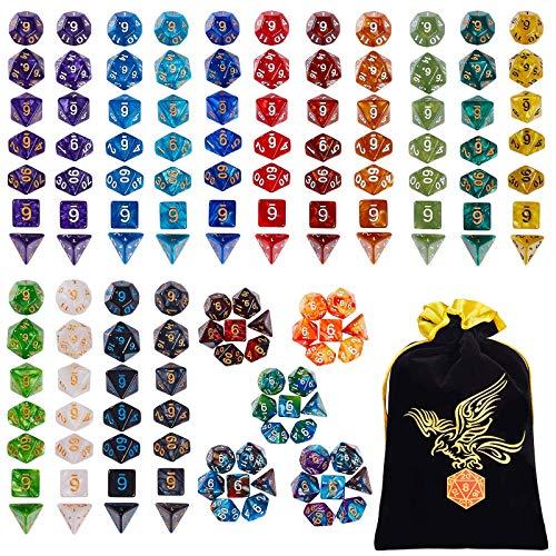 QMAY Set Dadi DND, Dadi poliedrici da Gioco 140PCS, 20 Colori Doppio Colore Dadi DND Gioco Dadi per Dungeon e Draghi DND Rpg Giochi da Tavolo MTG Dado D4 D8 D10 D12 D20