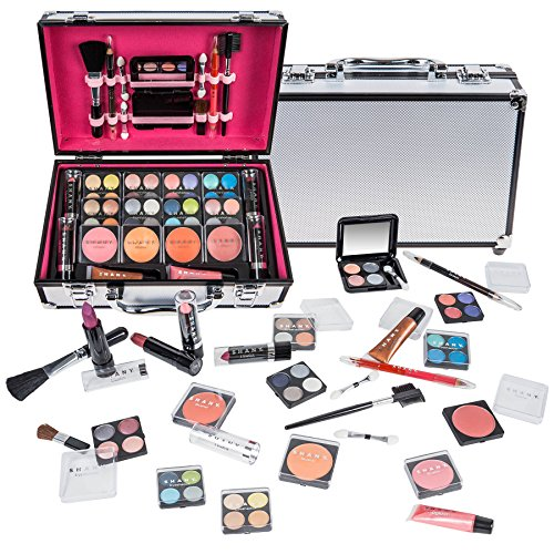 SHANY Carry All Makeup Train Case with Pro Makeup and Reusable Aluminum Case - Silver