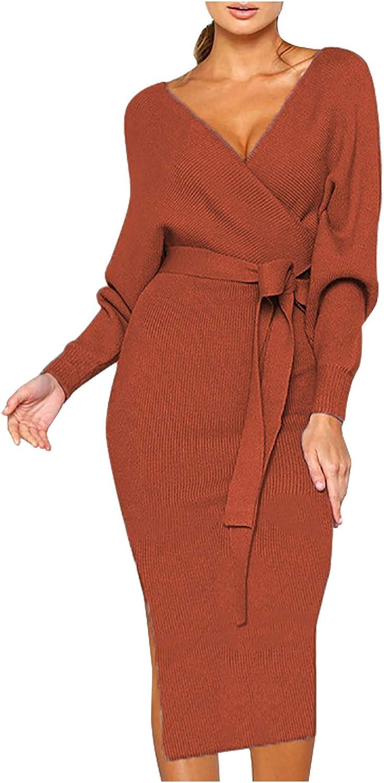 PLENTOP Women's Plus Size Deep V Neck Bishop Sleeve Plunging Belted Bodycon Wrap Dress