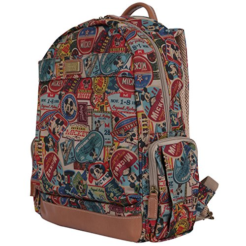 ililily X Disney Vintage Mickey Mouse Pattern Mesh Multi-Purpose Backpack Rucksack, Brown