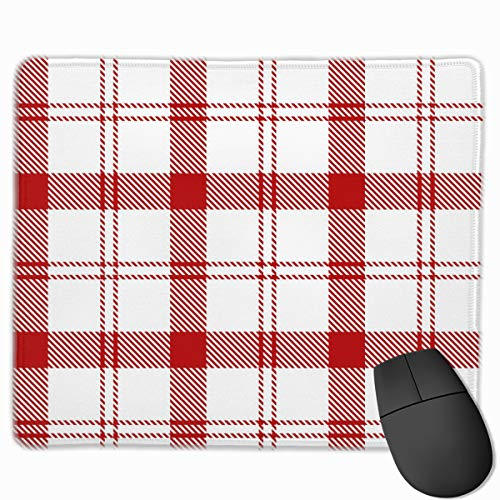 YGVDSE Mouse Pad Red White Tartan Plaid Scottish 25 X 30 cm Mouse Mat, Medium Size Gaming Mouse Pad with Water Resistant Surface, Non Slip Rubber Base