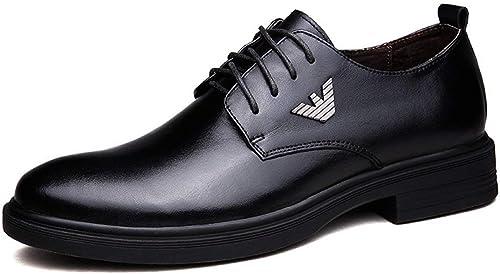 Qiusa Chaussures de Ville fraîches d'extérieur pour Hommes, Style Cap-Toe, pour Hommes (Couleuré   Noir, Taille   5.5 UK)