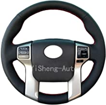 Eiseng Steering Wheel Cover for 2012-2019 Toyota Tacoma 2014-2019 Tundra 2014-2019 Sequoia 2010-2019 4Runner Stitch On Wrap Interior Accessories DIY Black Microfiber Leather (Red thread)