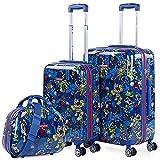 KUKUXUMUSU - Juego de Maletas con Neceser de Viaje Beauty. Rigidas y Ligeras Hechas con Policarbonato. Cierre TSA. Cabina y Mediana 131200, Color Azul